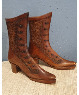 Hand made treen boots with pin point decoration. circa 1890