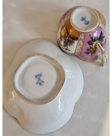 Dresden hand painted cup and saucer
