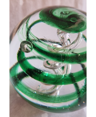Large green spiral glass paperweight