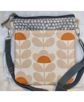 cross body bag made with Orla Kiely fabric ( peach )